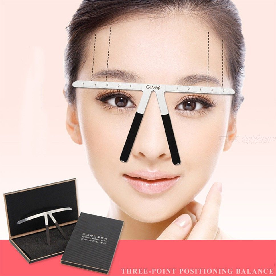 Three-Point Positioning Eyebrow Balance Ruler Metal Tattoo Shaping Stencil Permanent Makeup Measurement Tool