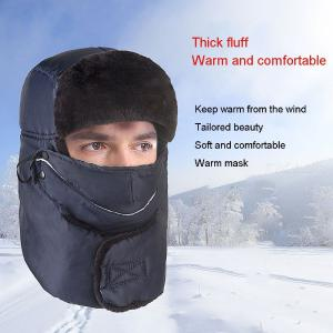 Men Thickened Hunting Ushanka Hat Mask Earflap Winter Russian Hat For Outdoor Hiking Camping