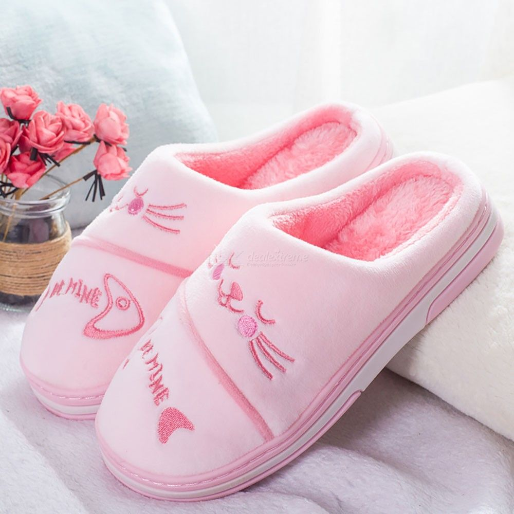 Womens Cute Warm Plush Slippers Comfy Slip-on Shoes