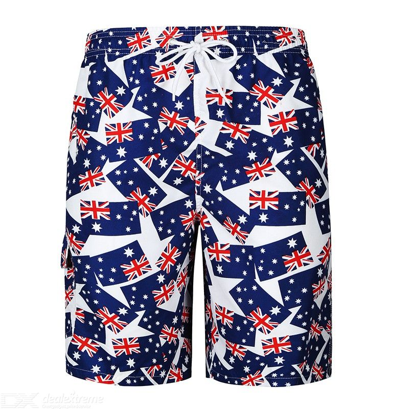Male Casual Shorts Loose Beach Pants with Drawstring for Men