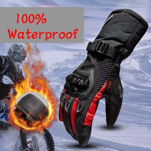 Mens Long Motorcycle Gloves Full Finger Waterproof Windproof Warm Protection Off-road Gloves