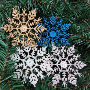 12PCS Plastic Snowflake Ornaments Shimmer Christmas Tree Decoration – 10cm