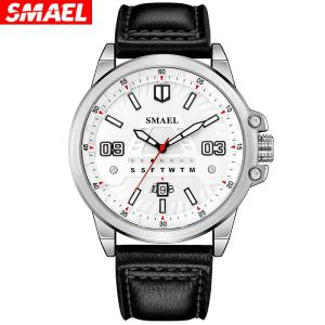 SMAEL 9123 Leather Strap Quartz Watch Male Casual Business Wristwatch