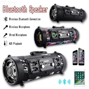 Portable Outdoor Bluetooth Speaker Wireless Multifunctional FM Radio Speaker Surround Bass LED Loudpeaker With Mic Support TF