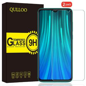 QULLOO 2PCS 2.5D Full Coverage Tempered Glass Screen Protector Film Compatible with Xiaomi Redmi Note 8 Pro