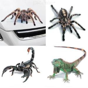 Unique 3D Animal Pattern Car Stickers Bumper Door Decor Scorpion Spider Lizard Decals Auto Motorcycle Decorations