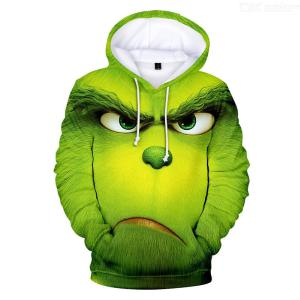 Grinch 3D Digital Print Fleece Lined Couple Hoodie, Women Men Green Sweatshirt Pullover Hoody For Christmas
