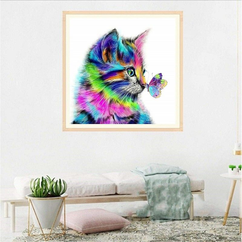 Color Diamond Painting Cat Butterfly Full diamonds Decorative Painting Manual DIY Plaster painting - No Frame 3030cm