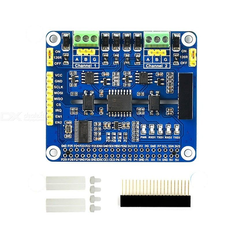 2-Channel Isolated RS485 Expansion HAT for Raspberry Pi 4B/3B/3B+/Zero/Zero W, SC16IS752+SP3485 Solution with Protection Circuit