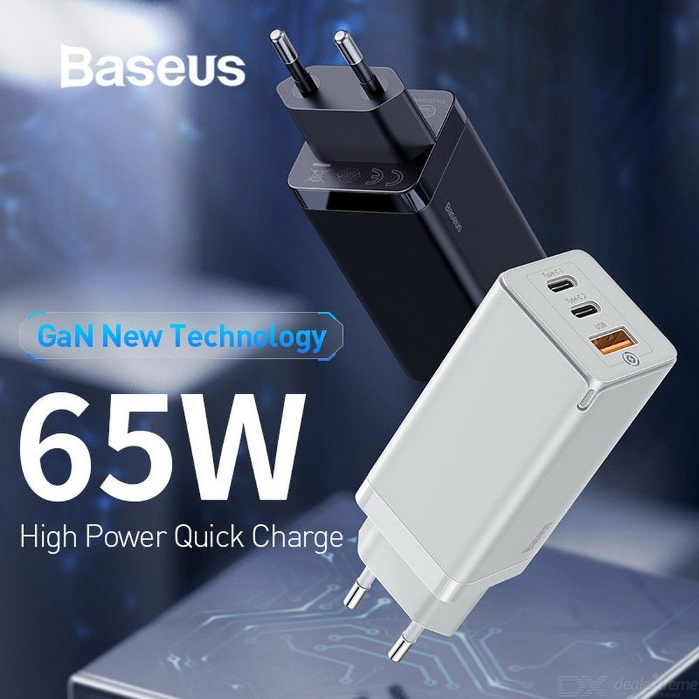 Baseus GaN 65W High Power PD Quick Charge 3.0 2 Type C + USB Fast Charger For IPhone Xiaomi Samsung S10 Plus EU Plug
