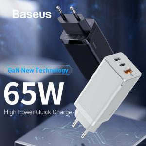 Baseus GaN 65W High Power PD Quick Charge 3.0 2 Type-C + USB Fast Charger For IPhone Xiaomi Samsung S10 Plus - EU Plug