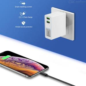 36W Travel Charger Adapter Dual USB QC 3.0 LCD Display USB Wall Charger