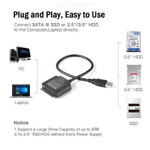 USB 3.0 to SATA Adapter Cable for 2.5 / 3.5 Inch HDD SSD - Black (US Plug)