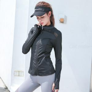Womens Running Shirt Full Zip Workout Track Jacket With Thumb Holes