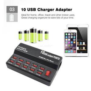 40W 10A USB Fast Charge Smart Charger Power Adapter with 10 USB Output Ports - AC 100240V
