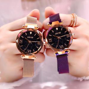 Ladies Starry Sky Dial Watch Elegant Shinny Star Analog Wristwatch With Magnetic Mesh Band 3ATM Water Resistance