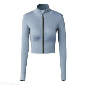 Womens Workout Crop Top Fitted Pullover Zip Up Long Sleeve Sweatshirt
