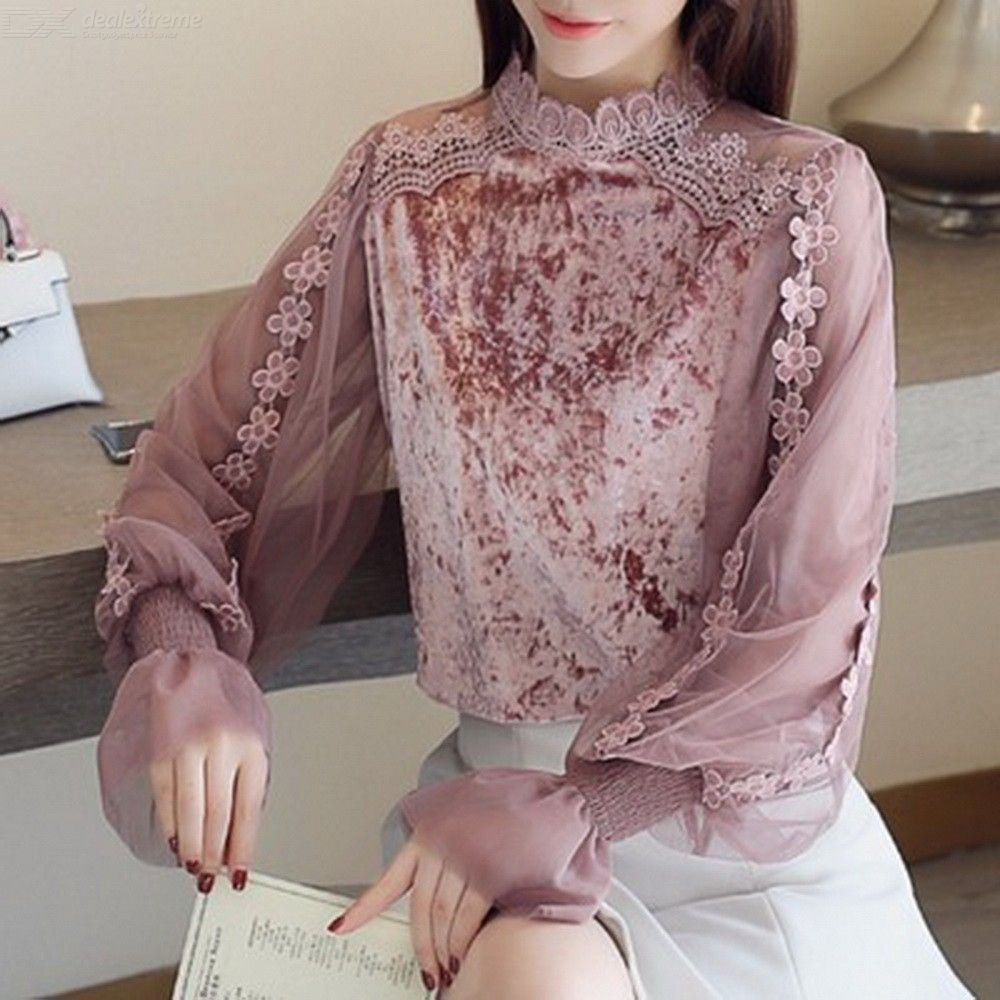 Stylish Trumpet Sleeve Blouse Slim Lace Mesh Stitching Bottoming Shirt For Ladies Women
