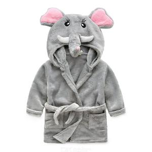 Children's Dressing Gown Autumn Winter Flannel Hooded Bathrobe Pajamas Sleepwear For Boys Girls Aged 2-8