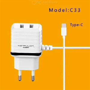 KONFULON C33 Dual USB Wall Charger 5V/2.4A Travel Adapter With Built-In 1M Type-C Cable