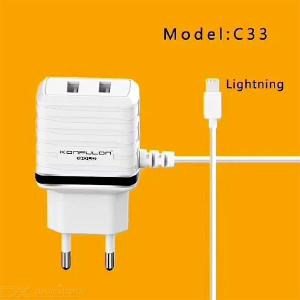 KONFULON C33 Dual USB Wall Charger 5V/2.4A Travel Adapter With Built-In 1M Cable For IPhone Android Phone