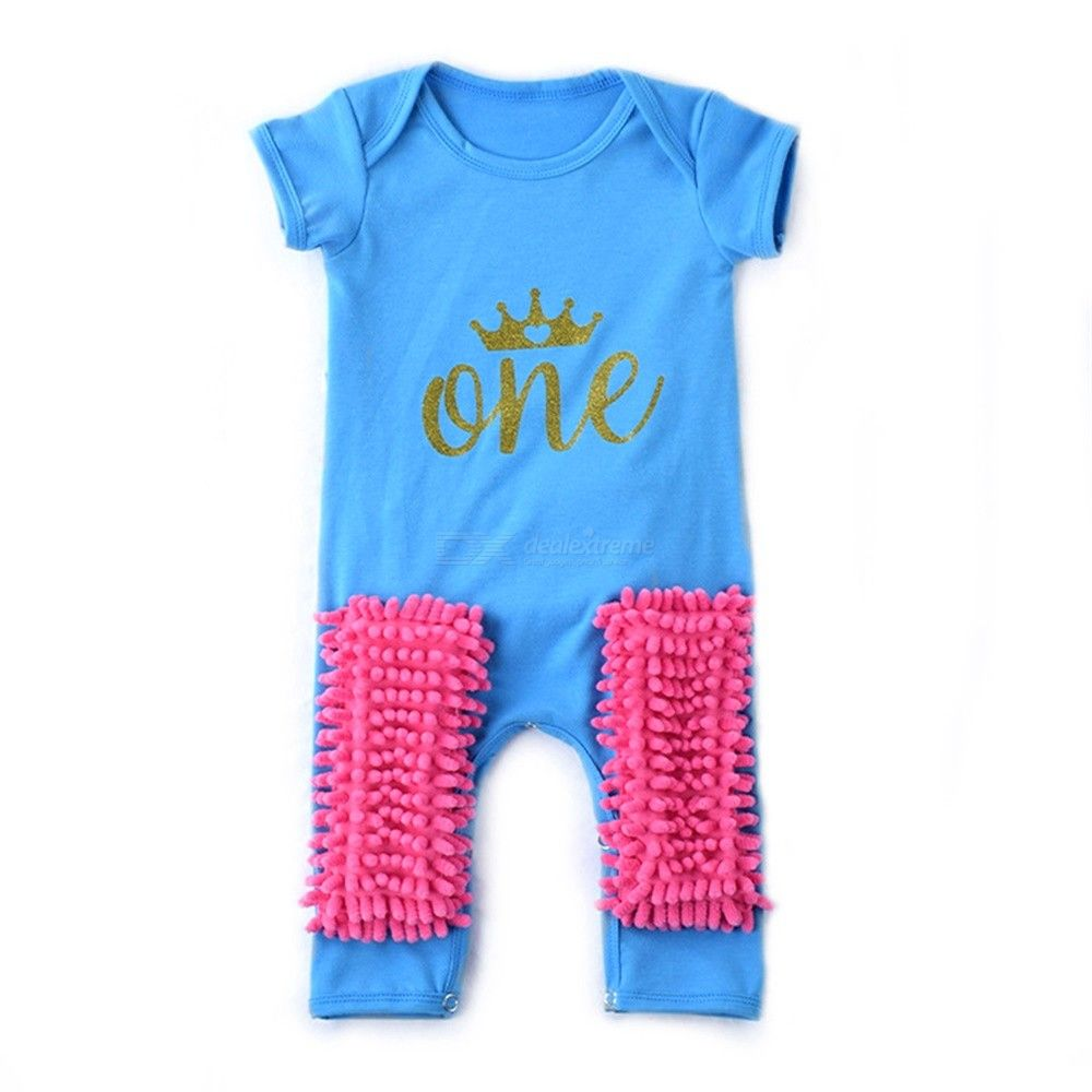 Baby Boys Girls Mop Romper Cotton Crawling Clothes Summer Short Sleeve Jumpsuit