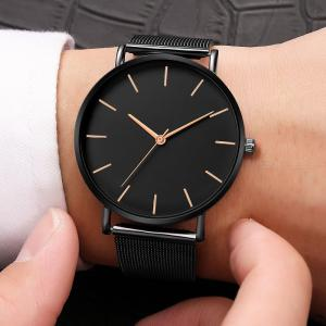 Mens Fashion Watch Minimalist Style Wristwatch With Stainless Steel Strap