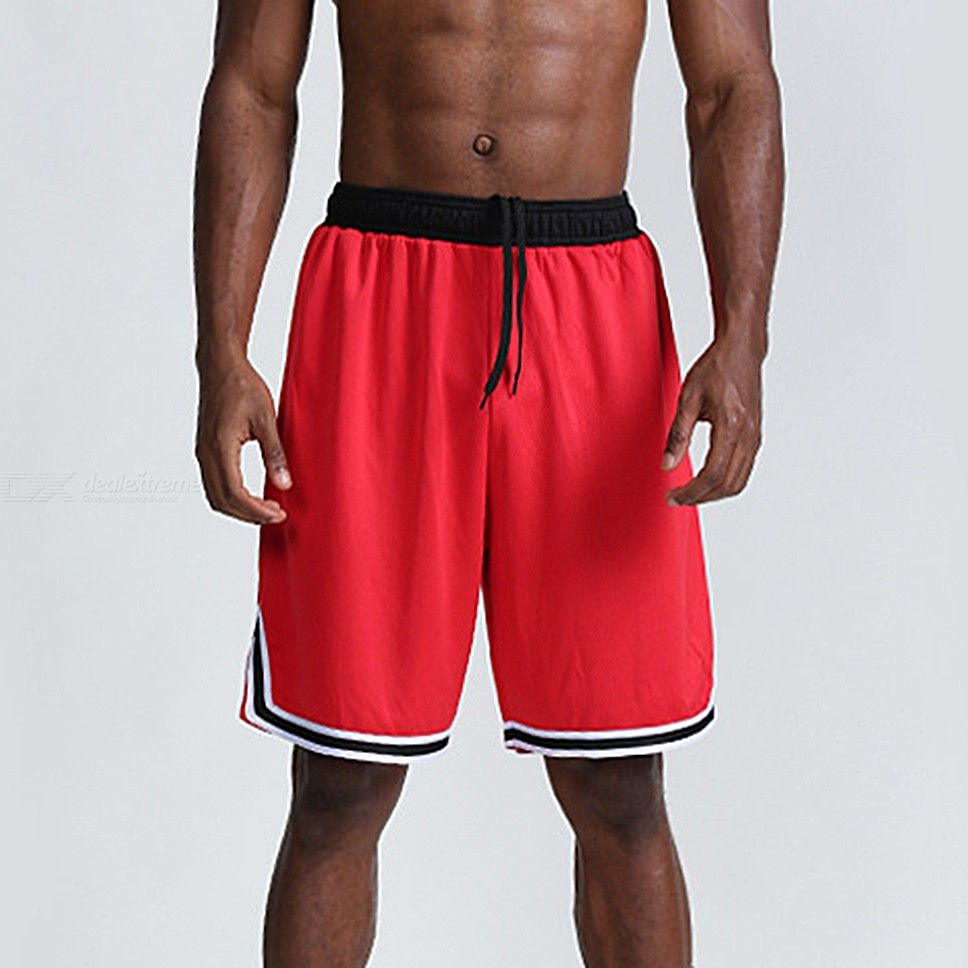 Elastic Waist Drawstring Basketball Shorts Breathable Quick Dry Running Gym Pants With Pockets For Men
