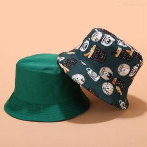 Unisex Bucket Hat Cotton Foldable Reversible Sun Hat For Hiking Camping Traveling Fishing Beach Holidays