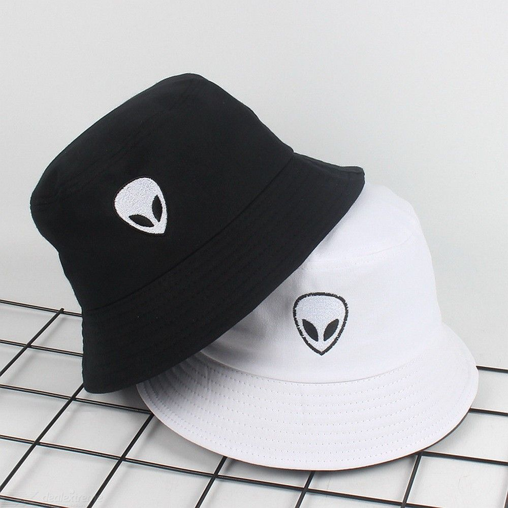 Unisex Bucket Hat Cotton Foldable Trendy Hip-hop Sun Hat With Alien Embroidery Pattern For Hiking Camping Traveling Fishing