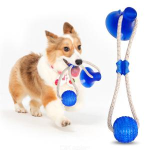 Pet Dog Molar Chew Toy Self-Playing Rubber Ball Toys Teeth Cleaning Tool Non-Toxic TPR Balls With Suction Cup