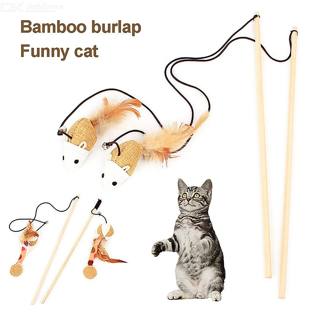 Cat Feather Teaser Interactive Cat Feather Toys With Bell Mouse Pumpkin Wooden Stick