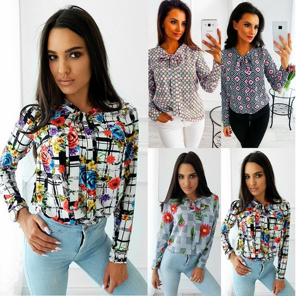 Women Long Sleeve Bow Tie Neck Print Chiffon Blouses Top