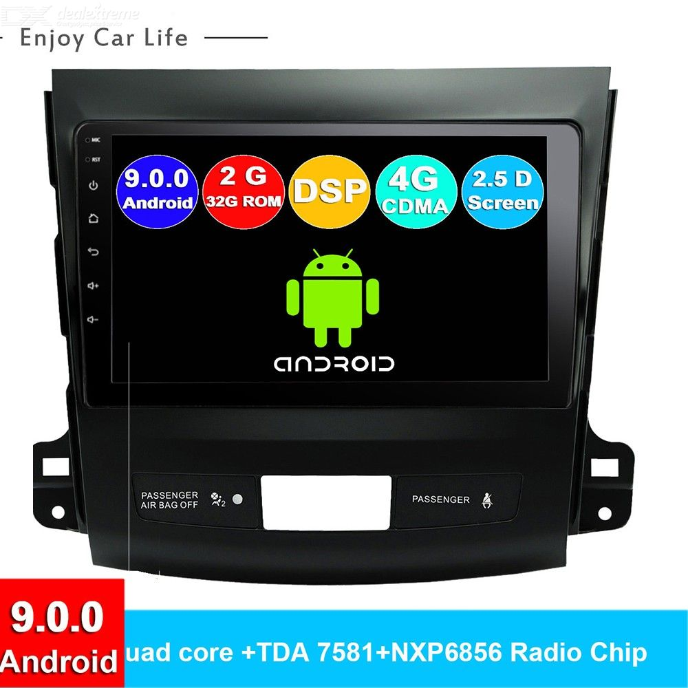 Funrover 2.5D+IPS Android 9.0 Car Multimedia Player Navigation DVD for Mitsubishi Outlander 2006-2014 Peugeot 4007/Citroen GPS