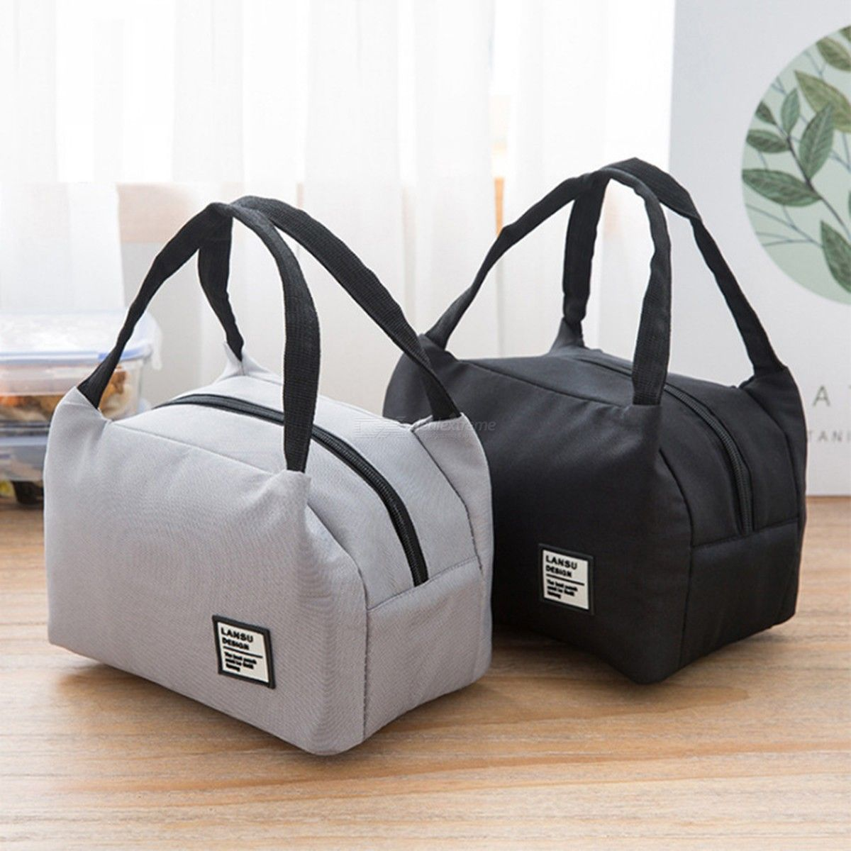 Portable Bento Bag Simple Large Capacity Insulated Lunch Totes