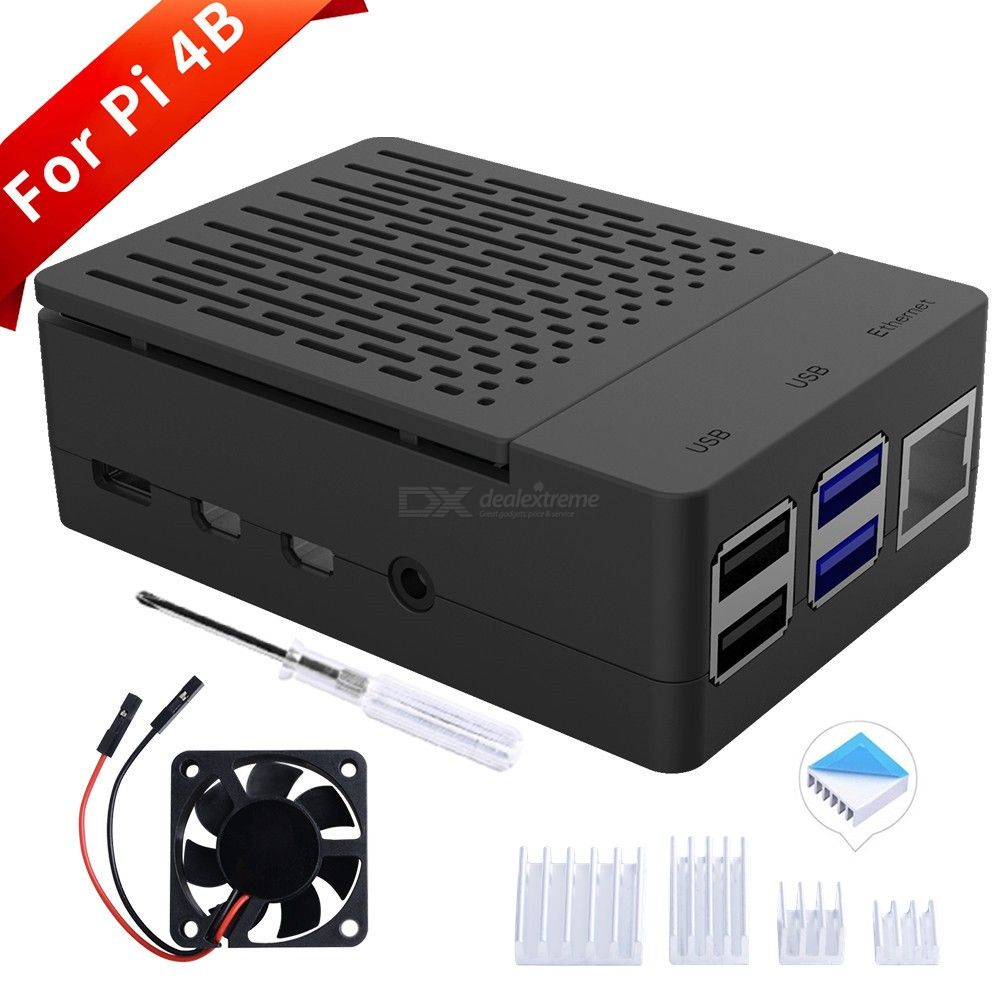 ABS Case with Cooling Fan, Heatsink, Simple Removable Top Cover for Raspberry Pi 4B(no pi)