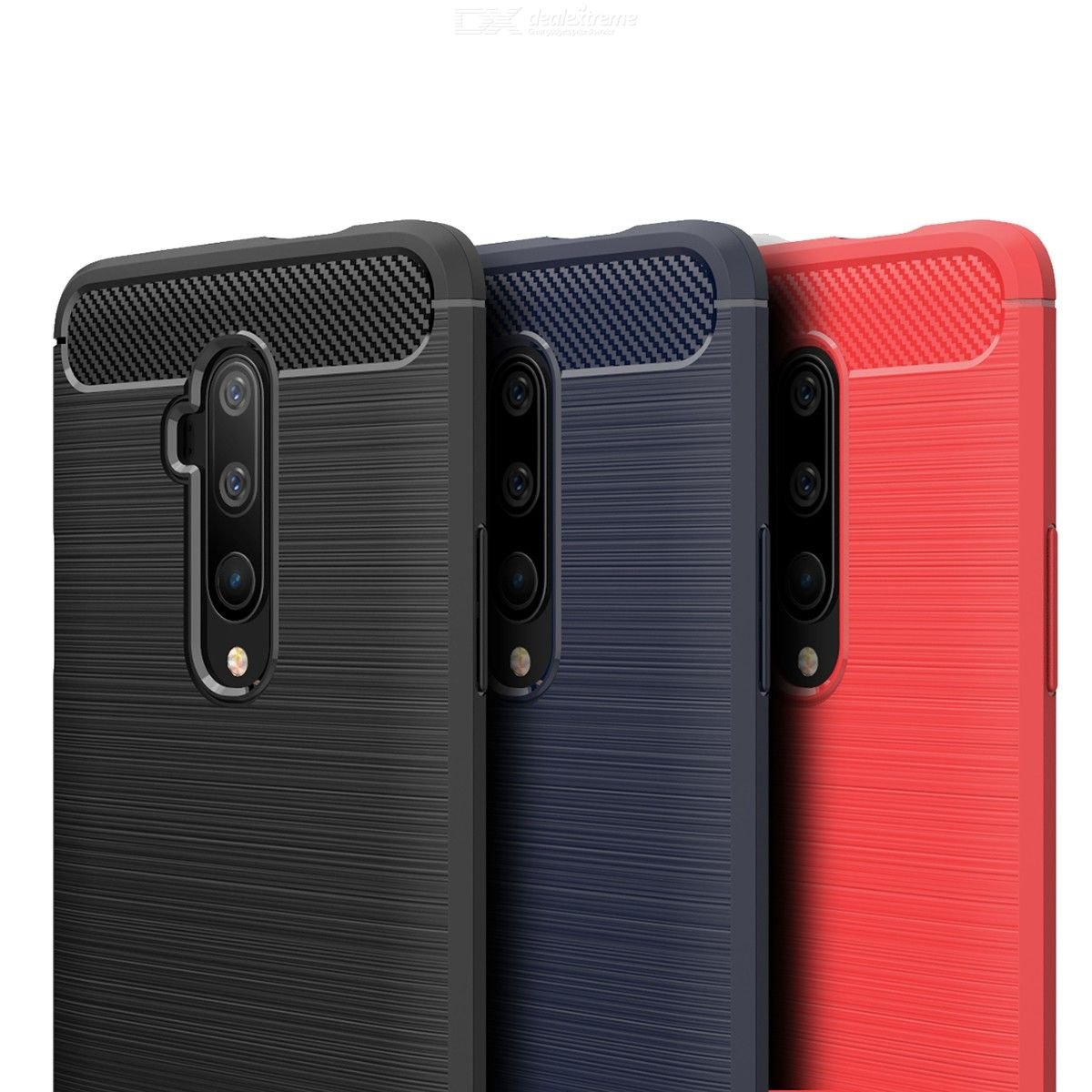 ASLING Carbon Fiber Back Cover Soft TPU Phone Case for OnePlus 7T Pro