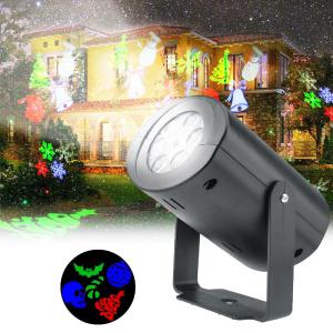 Christmas LED Projector Light Outdoor RGB Rotating Projection Lamp With 12 Slides