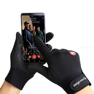 Windproof Cycling Gloves Anti-slip Full Finger Warm Gloves With Reflective Sign For Outdoor