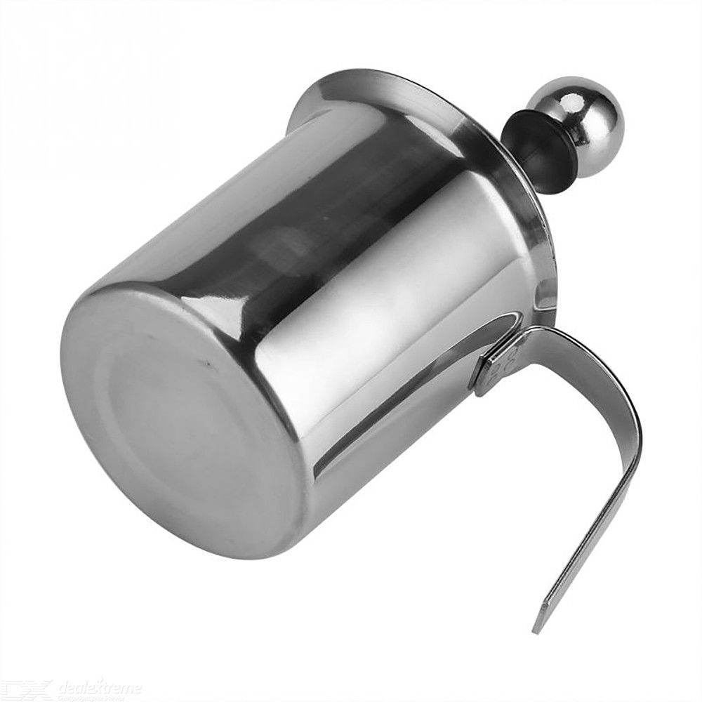 Manual Milk Frother 400ML Stainless Steel Double-layer Filter Milk Creamer Coffee Foam Pitcher  - Silver