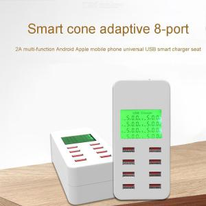 USB Charger 8 Ports USB Charging Stations with LCD Digital Display for iPhone iPad Smartphones Tablet