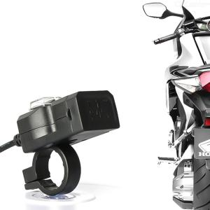 Dual USB Port 12V Waterproof Motorcycle Handlebar Charger 5V 1A/2.1A Adapter Power Supply For Phone