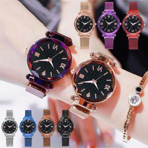 Fashion Roman Numerals Dial Women Quartz Wrist Watch With Magnetic Buckle Milanese Mesh Band
