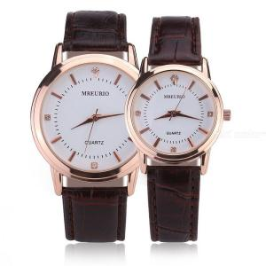 Casual Quartz Diamond Dial Couple Watch With Leather Band For Women Lady