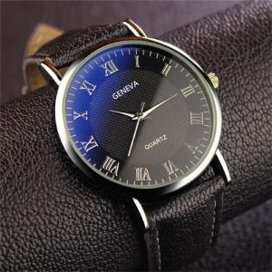 Casual Business Large Round Dial Watch, Leather Band Men Quartz Wristwatch
