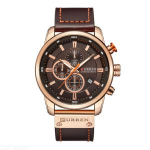 CURREN 8291 Round Dial Quartz Watch Six Hands Chronograph Calendar Display Wristwatch With Leather Strap For Men