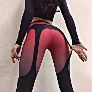 Sexy Printed Sports Leggings Yoga Pants Elastic Butt Push Up Garter Pattern Tights Gym Clothing For Women