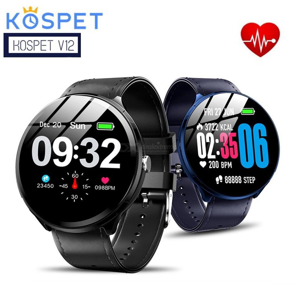 Kospet V12 Waterproof Smartwatch, Heart Rate / Blood Oxygen Monitoring / Breathing Light / Tempered Glass Leather Smart Watch