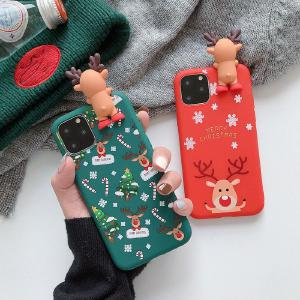 Christmas Phone Case Cute Cartoon Elk Mobile Back Cover For IPHONE Series