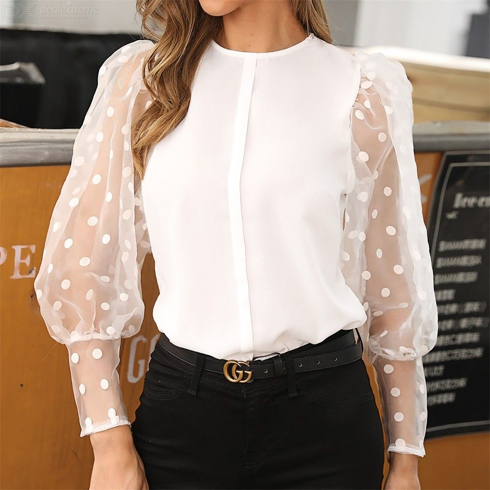Womens Long Tulle Sleeve Elegant Dots Casual Blouses Tops